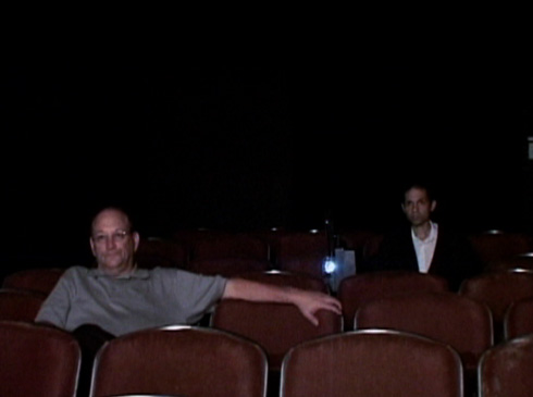 Poking fun at himself, Caveh makes up 1/2 of the audience at one of his film screenings.