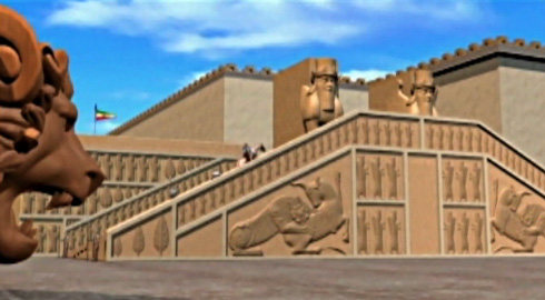 Takht-e Jamshid (or Persepolis in the West) is recreated.