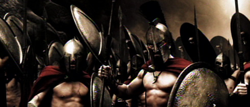 King Leonidas (Gerard Butler) and his Spartans are depicted as fighting bare-chested.