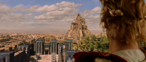Alexander looks upon Babylon, which the movie treats as the center of the Persian Empire. No reference is made to Persepolis nor to its burning down by order of a drunken Alexander.