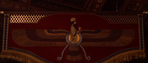 The movie is filled with recreations of Ancient Persian Motifs including this representation of the Zarathustran God Ahura Mazda which hangs over Alexander's deathbed.