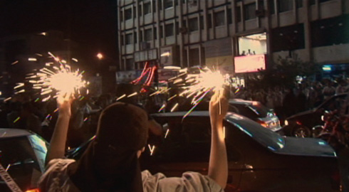 Panahi shot the closing sequence during the spontaneous street celebrations that took place after Iran's victory and qualification for the 2006 World Cup.