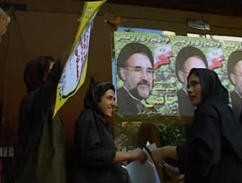 A group of college girls set up a re-election campaign office for reformist president Mohammad Khatami.